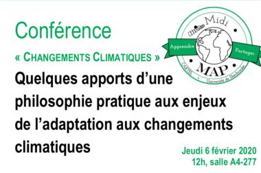 Midi-MAP : conférence «Changements Climatiques» ce jeudi