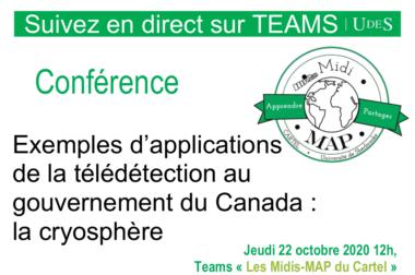 Midi-MAP : Conférence «télédétection au gouvernement du Canada : la cryosphère» ce jeudi !